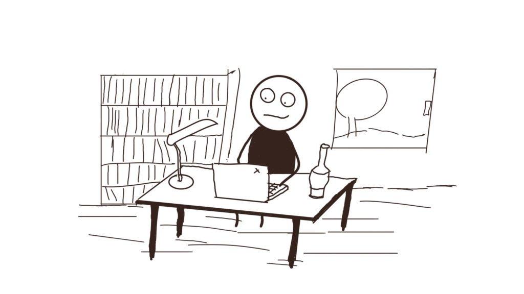 Ein Busch Schreiben am Tisch